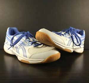 Asics Upcourt 2 Women's Size 11 White w/Blue Hard Court Volleyball Shoes B755Y