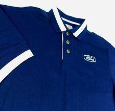 Ford Motor Co Blue Polo Golf Shirt F150 Mustang Cutter Buck Blue Oval Logo Sz L