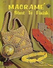 Vtg 1971 Macrame Start to Finish Book H193 Necklaces Jewelry Belt Purse Patterns
