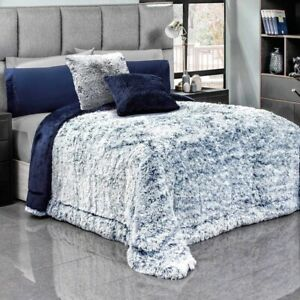 DEEP BLUE PLATINUM SOFT FLANNEL BLANKET WITH FAUX FUR AND THICK WADDING KING