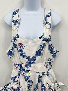 Karen Alexander Womens Sz Sm/Med Vintage White Floral Overalls Cottagecore 80s