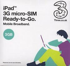 Three 3GB Preloaded 3G/4G Mobile Broadband Data Micro-SIM. Micro Size for iPad.