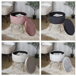 Round Velvet Storage Footstool Footrest Dressing Table Seat Chair Ottoman Poufy