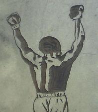Muhammad Ali Art Artwork Male Fighter Boxer Linocut Block Original Boxing Fight