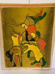 """WONDERFUL Vintage original abstract oil painting on paper signed EA 21x18"""" sheet"""
