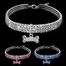 """3 Rows Bling Dog Necklace with Crystal Bone Pendant Rhinestone Medium Dog 13-15"""""""