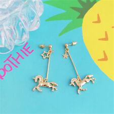 Fashion Women Unicorn Star Stud Earrings Long Fringe Drop Dangle Jewelry Gift