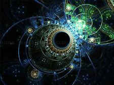 FRACTAL ABSTRACT BLUE GREEN PHOTO ART PRINT POSTER PICTURE BMP1919A