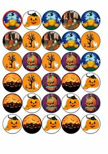 30 Halloween night   edible rice paper cup cake toppers,