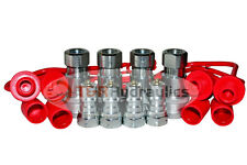 "4pk 1/4"" ISO 7241 Series B Hydraulic Quick Couplers w/Dust Cap&Plug"