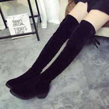 Damen Mode Overknee Booties Flache Schuhe Wildleder Schnürboots Winter Stiefel