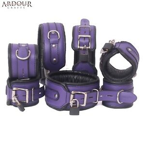Real Leather Wrist Ankle Thigh Cuffs & Collar 7 Pieces Set Padded Purple & Black