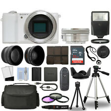 Sony Alpha a5100 Camera Body White + 3 Lens Kit 16-50mm OSS+ 32GB + Flash & More