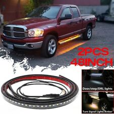 "48"" Car Running Board LED Light Side door Step Pedal Turn Signal Parking Strip"