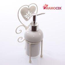 PORTA SAPONE Dispenser CUORE metallo ferro bianco anticato appoggio Bagno Shabby
