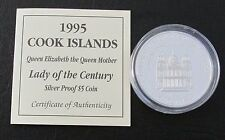 1995 COOK ISLANDS SILVER PROOF 5 DOLLARS COIN + COA / LADY OF THE CENTURY