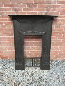 English Antique Art Nouveau cast iron fireplace 1905