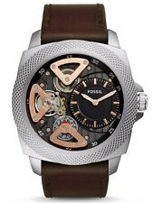 FOSSIL MEN'S S BROWN LEATHER MECHANICAL TWIST SILVER  ACCENT WATCH * BQ2206