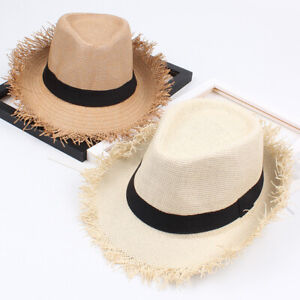 New Womens Mens Straw Cap Panama Style Crushable Sun Hat Travel Beach Visor Caps