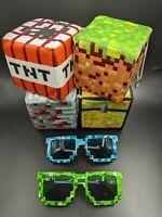 Set of 4 Minecraft Plush Cube Block Stuffed Toys with 2 Free Sunglasses New