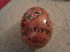 TAN WOOD EGG WITH PINK GREEN RED AND WHITE FLOWER
