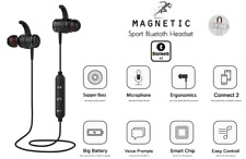 Bluetooth 4.2 Sport Wireless Music Stereo Audio MP3 Magnetic In Ear Earphone