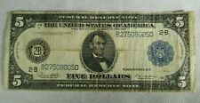 1914 $5.00 Dollar Federal Reserve Paper Note Circulated