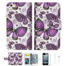 Purple Butterfly Wallet  Case Cover For Apple iPhone 6 6S -- A017