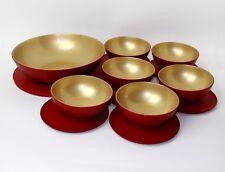 TUPPERWARE Allegra Servierschüssel 1x1,5L +6x275ml mit Deckel,Rot/GOLD