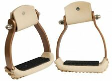 Showman Lightweight Angled Copper Aluminum Stirrups W/ Leather Wrapped Treads!!!