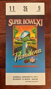 Original 1977 Super Bowl XI Ticket Stub Oakland Raiders Minnesota Vikings Mint !