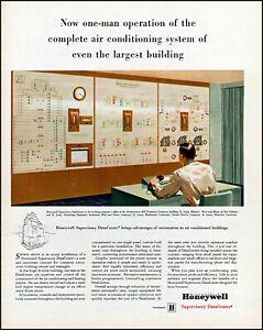 1957 Honeywell supervisory Data center one man crew vintage art Print Ad adl73
