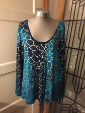 Ladies *Per Una* Long Sleeved Dressy Top Size 16 Blue Green Gold