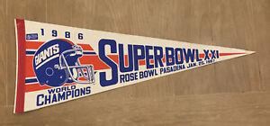 NFL New York Giants Vintage 1986 WORLD CHAMPIONS Super Bowl XXI Football Pennant