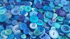 100 BLUE BUTTONS, ASSORTED STYLES, SIZES, ROYAL BLUE, CERULEAN, TURQUOISE & MORE