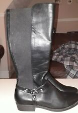 Ladies Leather Extra Curvy Wide Fit Calf Boots Flat Stretch size 9 newlook