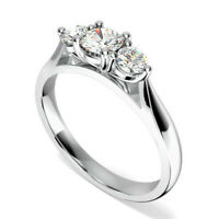 0.90 Ct Diamond Anniversary Ring 14K Solid White Gold Wedding Rings Size 5 6 7 8