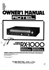 Rotel RX-1000 Receiver Owners Instruction Manual