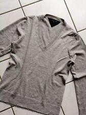 ✪ HILFIGER  Damen Pullover Wollpullover XL grau 95% Wolle Elastan V-Ausschnitt