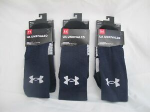 UNDER ARMOUR UA Unrivaled Crew Socks, 3 pack | NAVY | New in Box