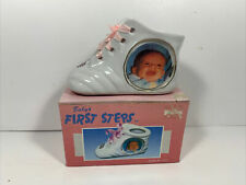 Price Products Vintage Baby First Steps Shoe Porcelain Photo Pink Ribbon 1991