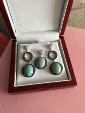 Turquoise Earrings and Pendant w. CZ set in Silver