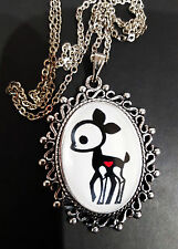 SKELANIMALS DEE Collana con pendente in argento antico Goth Steampunk Doe Deer Bambi