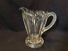 """VINTAGE CLEAR GLASS PITCHER~LARGE SIZE~9"""" HEIGHT~DECORATIVE HANDLE AND BASE"""