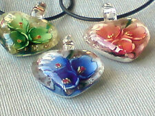 LAMPWORK MURANO STYLE GLASS FLORAL HEART DESIGN PENDANTS IN 4 COLOURS £5.95 each