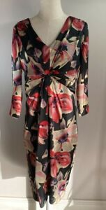 Grace Hill - Black & Red Floral Dress - Size 12 - BNWT