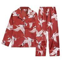 Damen Satin Schlafanzüge Sets Kunstseide Nachtwäsche Oberteile Hose Nachthemd