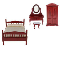 1:12 Scale Natural Finish Double Bed Tumdee Dolls House Bedroom Accessory V026