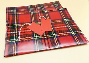 Stewart Red Tartan Gift Wrap Wrapping Paper 2 Sheets 2 Tags New Year Scottish