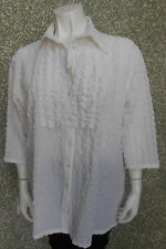 20  206/ Ciccia Bella Damen Bluse Gr. 52 Crash Crinkle Optik uni weiß 3/4 Arm